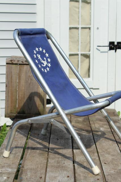 Vintage Deck Chairs Canvas Seat Folding Aluminum Lounge