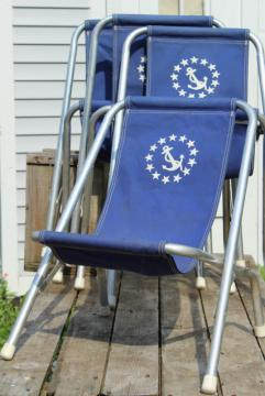 vintage deck chairs, canvas seat folding aluminum lounge chair set, ship's wheel nautical boat seats