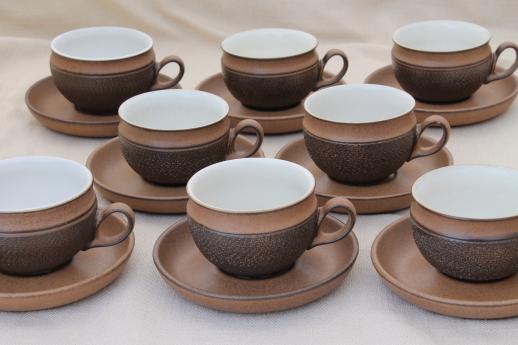 Vintage Denby Cotswold brown pottery cups \u0026 saucers mod tea or coffee cups & Vintage Denby Cotswold brown pottery cups \u0026 saucers mod tea or ...