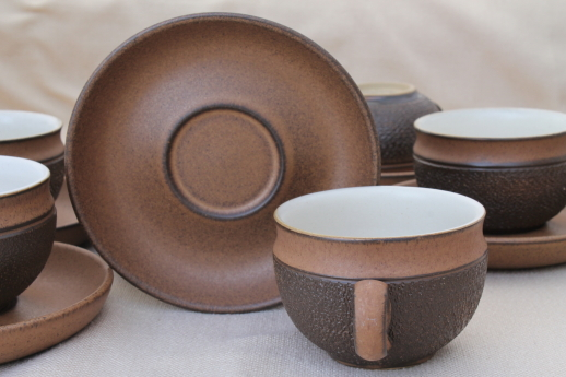 Vintage Denby Cotswold brown pottery cups \u0026 saucers mod tea or coffee cups : denby cotswold dinnerware - pezcame.com