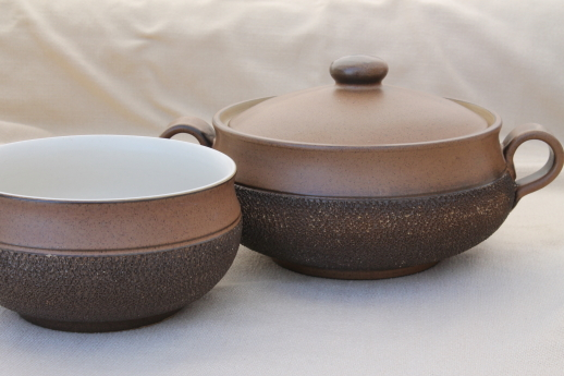 Vintage Denby Cotswold brown pottery vegetable bowl covered soup tureen & vintage china dishes and dinnerware