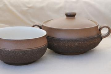 Vintage Denby Cotswold brown pottery, vegetable bowl, covered soup tureen