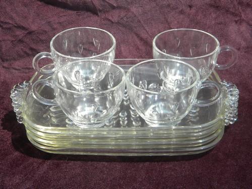 Vintage dewdrop or teardrop pattern glass snack sets