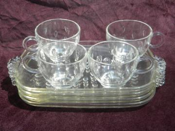 Vintage dewdrop or teardrop pattern glass snack sets