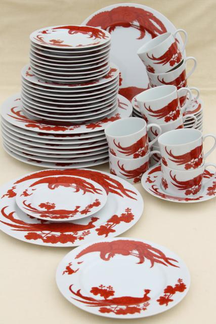 Vintage Dinnerware Service For 10, Chinese Red Peacock Birds Or Phoenix On  White Porcelain