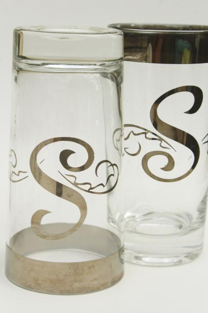 vintage drinking glasses w/ S monogram letter, wide silver band Dorothy Thorpe style