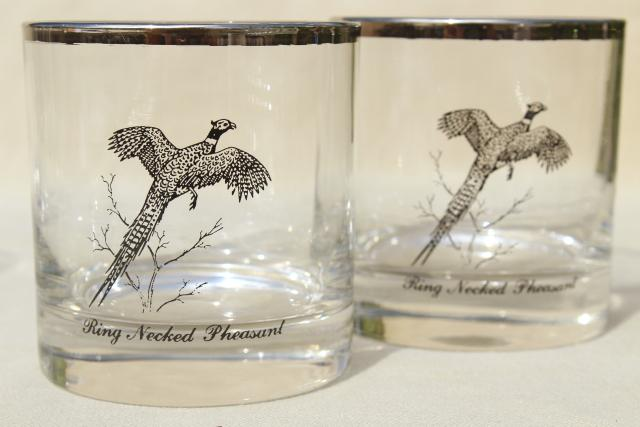 vintage drinking glasses, game birds pattern double old fashioned tumblers w/ platinum silver band trim