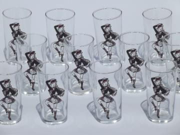 Vintage drinking glasses w/ girls in kilts, Scottish dancers glass tumblers