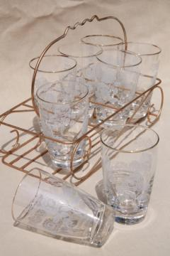 vintage drinking glasses in metal caddy rack, 1960s retro hollywood style!
