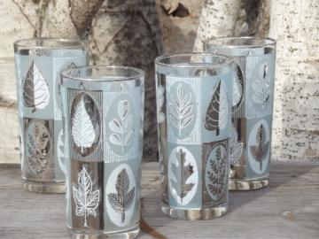 Vintage drinking glasses set, retro leaf print in silver and ice blue