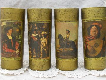 Vintage drinks glasses, 60s barware w/renaissance grand masters prints