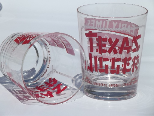 Vintage Early Times whisky glasses, giant Texas jiggers whiskey glass set