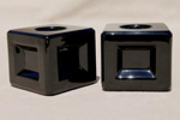 Vintage ebony black glass candlesticks, art deco modern minimalist cube candle holders
