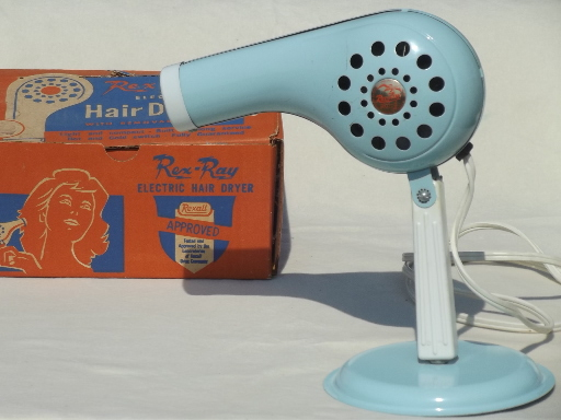Vintage Electric Hair Dryer Baby Blue Rex Ray Hand Held
