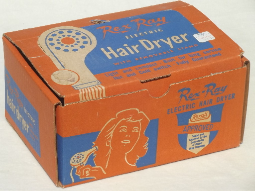 Vintage electric hair dryer, baby blue Rex Ray hand held hairdryer in box