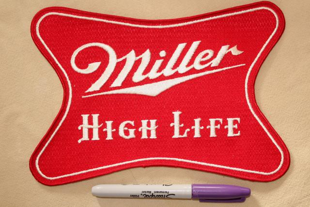 vintage embroidered patches Miller High Life beer large & small patches lot