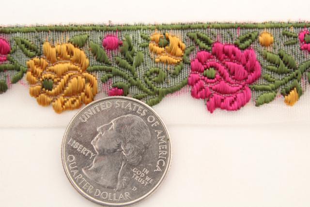 vintage embroidered trim, hippie style new old stock sewing trims roses & flowers