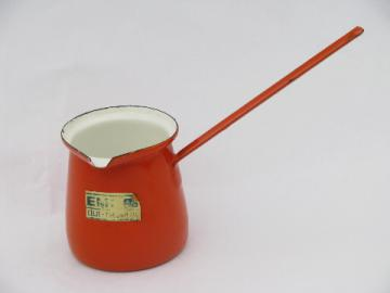 Vintage enamelware, orange enamel sauce pitcher for flambe, flaming puddings