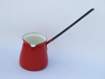 Vintage enamelware, red enamel sauce pitcher for flambe, flaming puddings