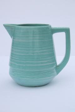Vintage Esmond pottery milk pitcher, turquoise blue green / white Watts ware