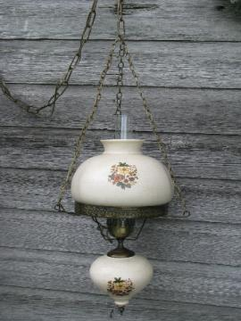 Vintage farmhouse hanging light, glass chimney, flowered ceramic shade