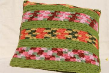 vintage feather pillow, large sofa or chair cushion w/ granny stripes crochet cover