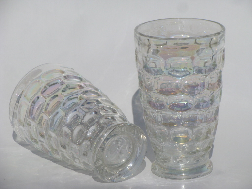 Vintage Federal Glass Tumblers Moonglow Iridescent Luster