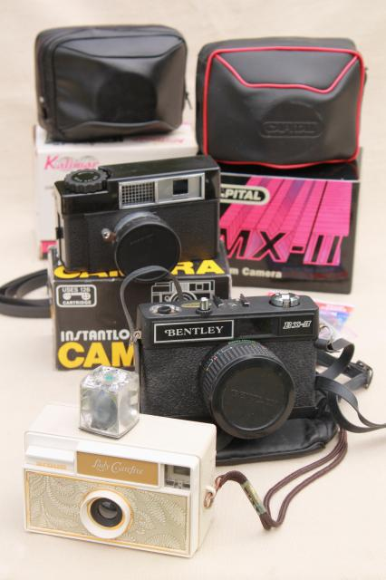 vintage film camera mixed lot of 5 retro 60s 70s 80s cameras photo props for staging