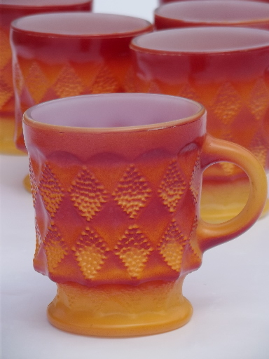 Vintage Fire King Glass Coffee Cups 70s Retro Orange