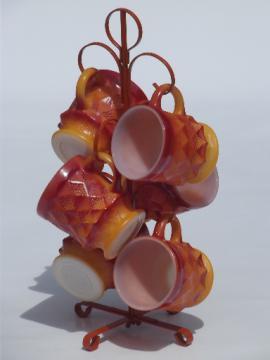 Vintage Fire-King glass coffee cups, 70s retro orange Kimberly  mugs set