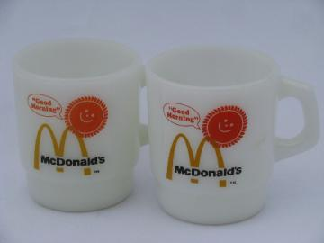 Vintage Fire-King glass restaurantware coffee cups, McDonald's advertising mugs