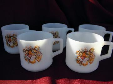 Vintage Fire-King tigers coffee cups, old Esso tiger advertising mugs