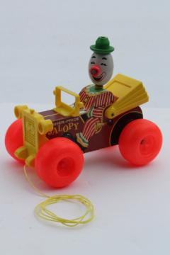 Vintage Fisher-Price Jalopy pull toy, 60s or early 70s wood clown car
