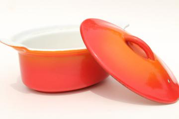 vintage flame orange enamel cast iron oval pan & lid, French Le Creuset style made in Belgium