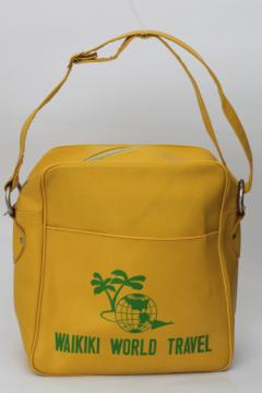 Vintage flight bag, retro yellow Waikiki Hawaii travel tourist souvenir bag