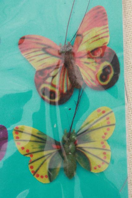 vintage floral silk painted butterflies made in Hong Kong, new old stock decor / craft supplies