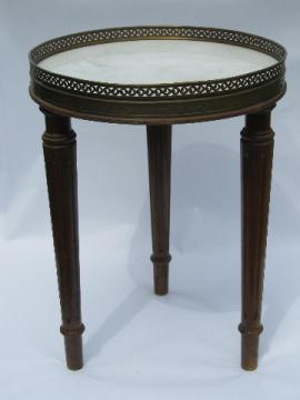 Vintage florentine style Italian marble topped plant stand / end table