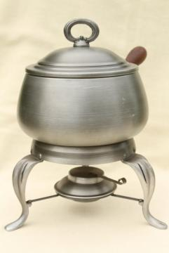 vintage fondue pot & burner stand made in Portugal, silver pewter color brushed aluminum