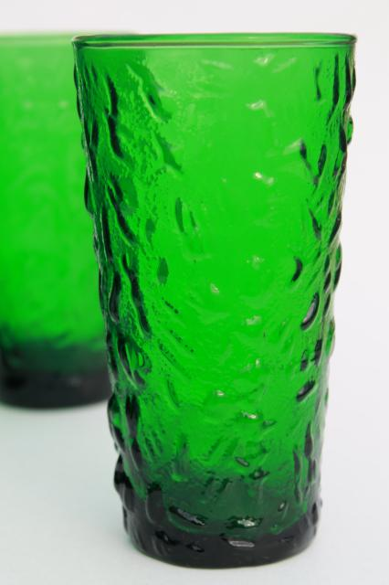 Vintage Forest Green Glass Tumblers Anchor Hocking Milano