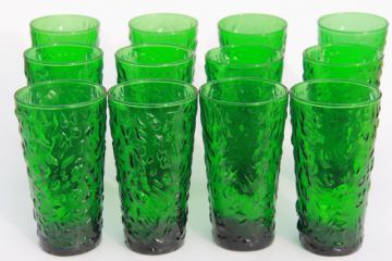 vintage forest green glass tumblers, Anchor Hocking Milano crinkle drinking glasses