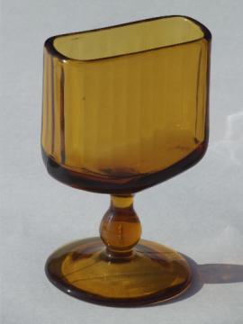 Vintage Fostoria amber glass cigarette holder, a stand for business cards?