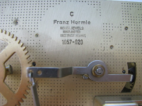 Vintage Franz Hermle brass clock works/movement with chimes