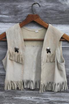 Vintage fringed leather deerskin vest for Indian maiden or cow girl, size 28 chest
