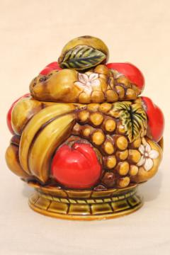 vintage fruit Inarco Japan ceramic cookie jar or covered dish, apples & bananas