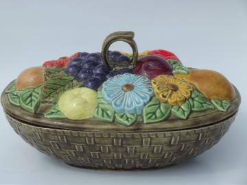 Vintage fruit basket  casserole / vegetable dish, retro handcrafted ceramic