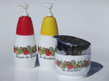 Vintage Gemco ketchup & mustard pumps & sugar jar, kitchen seasonings spice of life