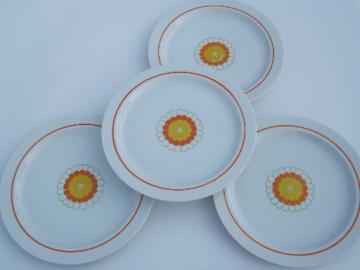 Vintage Georges Briard china dinner plates, orange & yellow Florette