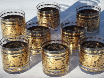 Vintage Georges Briard Town and Country gold old-fashioned glasses set