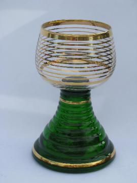 Vintage German / Bavarian wine glass, huge goblet w/ Swiss music box!