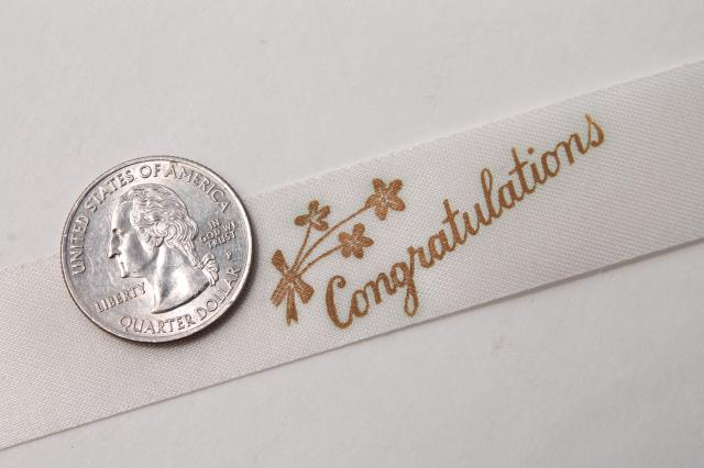 vintage gift package ribbons florists ribbon, Congratulations typography print